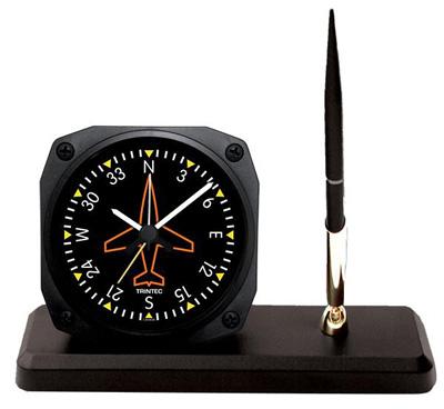 Classic Directional Gyro Desk Alarm Clock / Pen Set