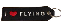 I Love Flying Embroidered Keychain