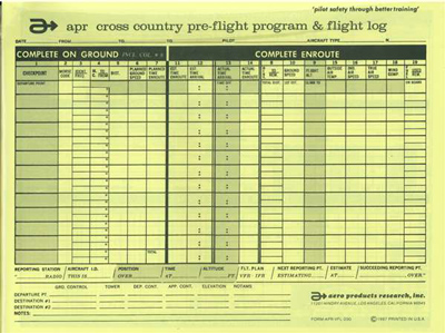 APR Pre-flight and Enroute Cross-Country Planning Log
