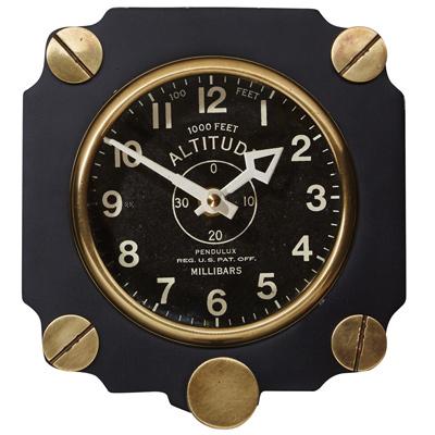 Aluminum Altimeter Wall Clock - Black