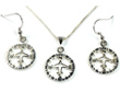 Small Compass Necklace & Earrings - Sterling Silver