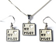 Small I LOVE MY PILOT Necklace & Earrings - Sterling Silver