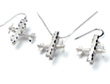 Bi-Plane Spinning Prop Sanblasted w/Diamond Cut Necklace & Earrings - Sterling Silver