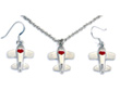 Airplane Heart Red Silver Tone Necklace & Earrings