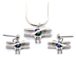Bi Plane Silver Tone Spinning Prop with Red, Blue and Green Necklace & Earrings