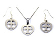 Airplane Mini Heart Silver Tone Necklace & Earrings