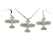 Small Airplane Clear Crystals Silver Tone Necklace & Earrings