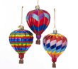 Hot Air Balloon Glass Ornament - Set of 3 Assorted