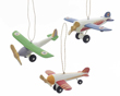Wooden Plane Ornaments - Set of 3