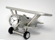 Brushed Chrome Biplane Airplane Clock