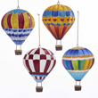 Tin Hot Air Balloon Ornaments - Set of 4