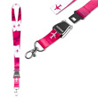 Pink and White Lanyard with Airplanes and a Seat Belt Breakaway