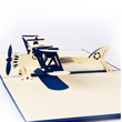 Blue Bi-Plane Pop Up 3D Greeting Card