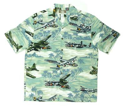 Sea Foam Green Hawaiian Airplane Shirt