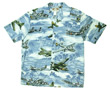 Lagoon Blue Hawaiian Airplane Shirt