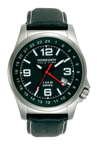 Torgoen Ladies T5 Zulu Time Watch - Black Leather, Silver Case, Black Face