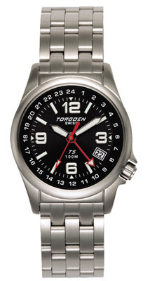 Torgoen T5 Zulu Time Watch - Steel Bracelet, Black Face