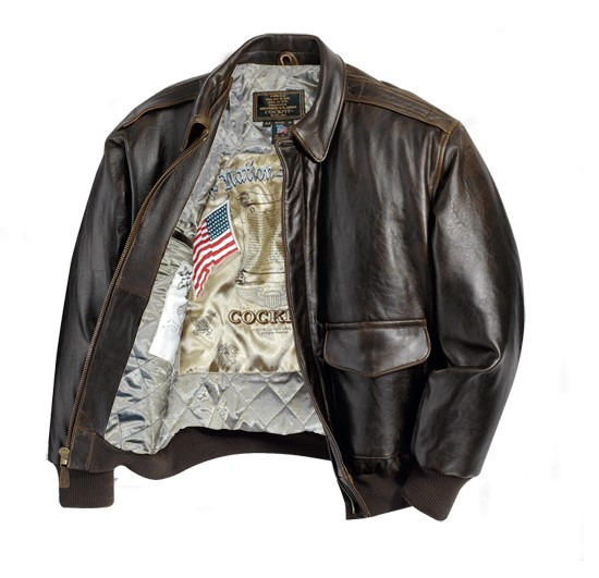 The Cockpit Antique Lambskin A-2 Leather Jacket (Dark Brown)