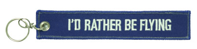 I'd Rather Be Flying Keychain - Embroidered