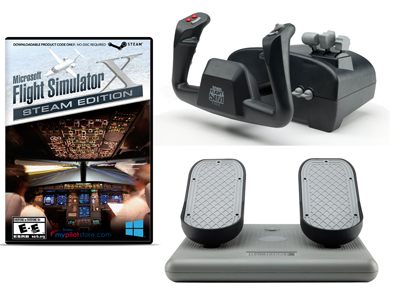 Deluxe CH Products Flight Simulator Bundle - MS Flight Sim X, Yoke, and Rudders