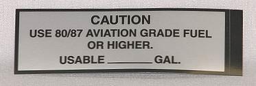 80/87 Fuel Placard