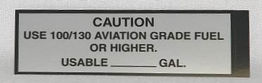 100/130 Fuel Placard