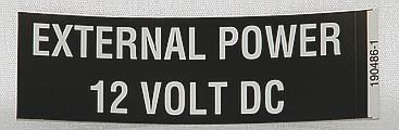 EXTERNAL POWER 12 VOLT DC Placard
