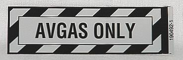 AVGAS ONLY Placard