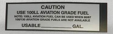 100LL FUEL Airframe Placard