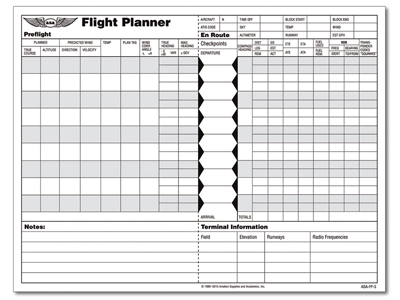 Asa Flight Planner Sheets  MypilotstoreCom