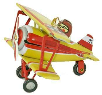 Tin Airplane Ornament - Yellow