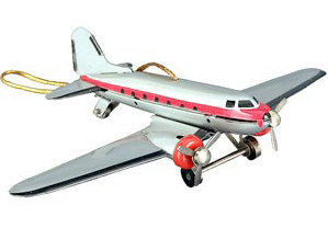 DC-3 Tin Airplane Ornament