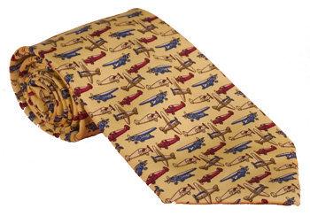 Aviator Airplane Tie 100% Silk - Maize