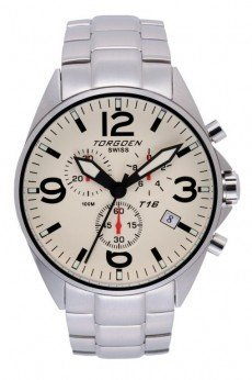 Torgoen T16 Watch - Steel Bracelet, Cream Face (T16202)