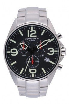 Torgoen T16 Watch - Steel Bracelet, Black Face (t16201)