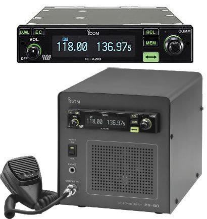 Icom Ic-a210 With Ps-80 Base Station Vhf Air Band Transceiver