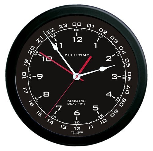 Zulu Time Wall Clock - White on Black