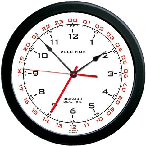 Zulu Time Wall Clock - Black on White