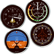 Classic Round Airplane Instrument Coasters - Set of 4