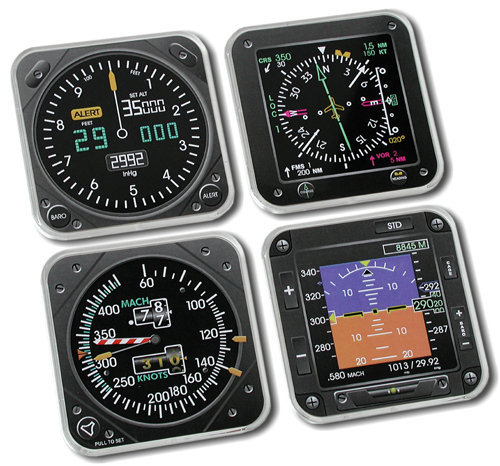 Modern Square Airplane Instrument Coasters - Set of 4