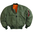 Alpha MA-1 Nylon Flight Jacket - Sage Green