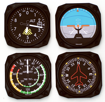 Classic Square Airplane Instrument Coasters - Set of 4