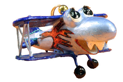 Plane Trouble Ornament - Blue