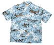 Palm Tree Blue Hawaiian Airplane Shirt - Size Small