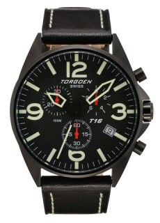 Torgoen T16 Watch - Black Leather, Black Face (t16101)