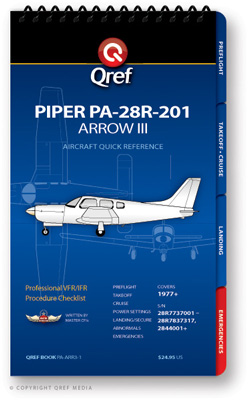 Piper Arrow III PA-28R-201 Checklist Qref Book