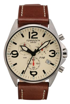 Torgoen T16 Watch - Brown Leather, Cream Face, Silver Case