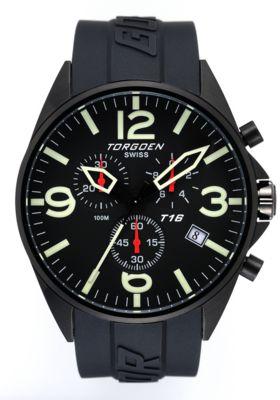Torgoen T16 Watch - Black Polyurethane Strap, Black Dials