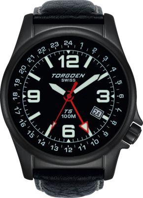 Torgoen T5 Zulu Time Watch - Black Leather, Black Case, Black Face