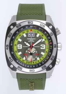 Torgoen T7 Watch - Olive Polyurethane Strap, Silver Case, Silver Face